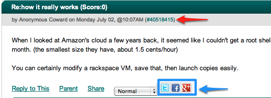 Slashdot comments with direct link and sharing functions