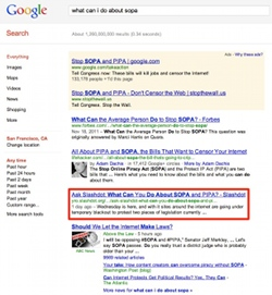 Slashdot SOPA in Google SERP's