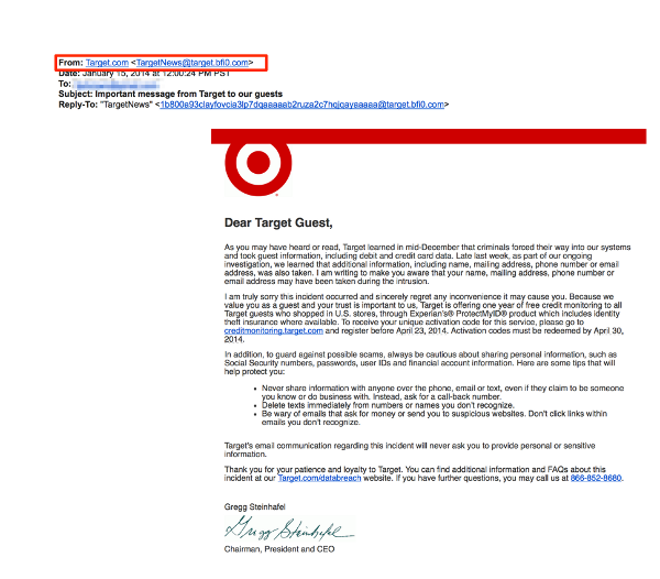 Target customers are getting targeted with Phishing email