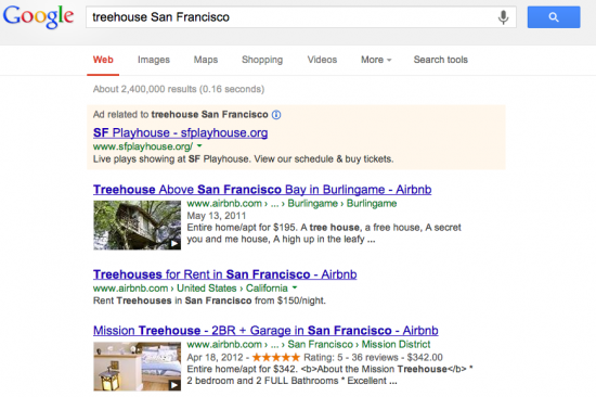 Google SERP San Francisco Treehouse with Airbnb Rich Snippets