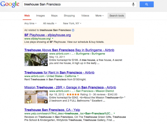 treehouse San Francisco Google Search result from New York