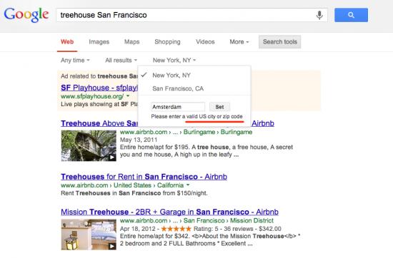 No EU location search possible in Google.com
