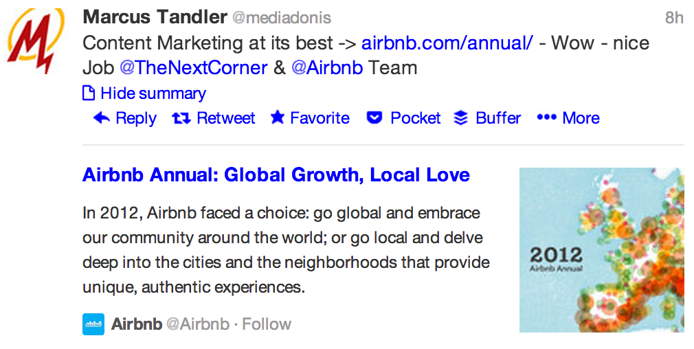 Tweet with a Twittercard of the Airbnb Annual report