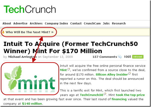 Mint on Techcrunch