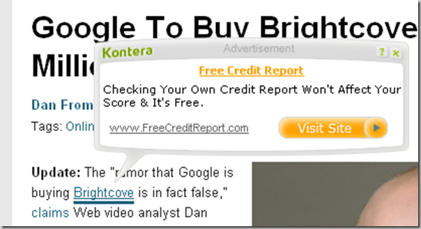 Kontera not so relevant ads