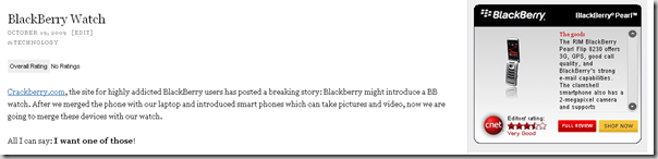 Relevant Blackberry Ad