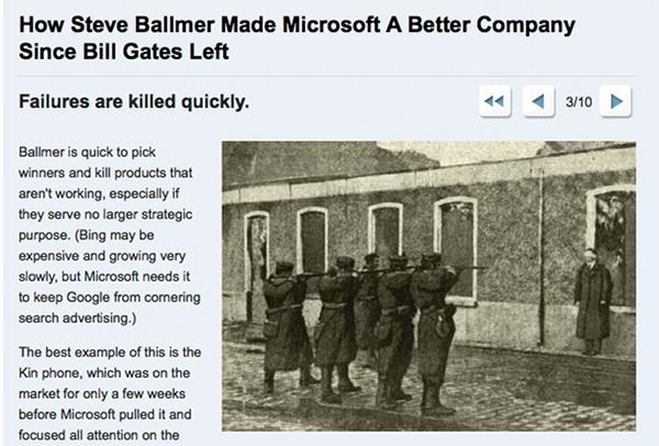 Business Insider: Microsoft killing failed projects like a firing squat killing a man