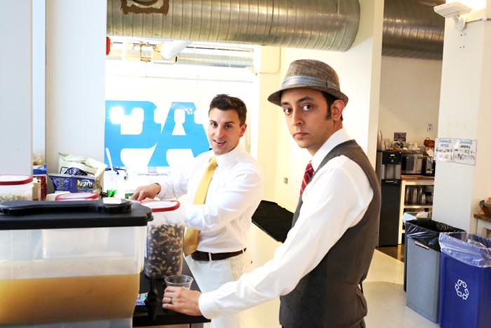 Brian Chesky and Joe Zadeh (Joebot) at Airbnb HQ at The Great Gatsby Formal Friday