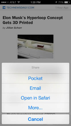 Zeit easy sharing with Pocket