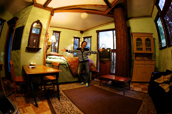 Redwood treehouse inside