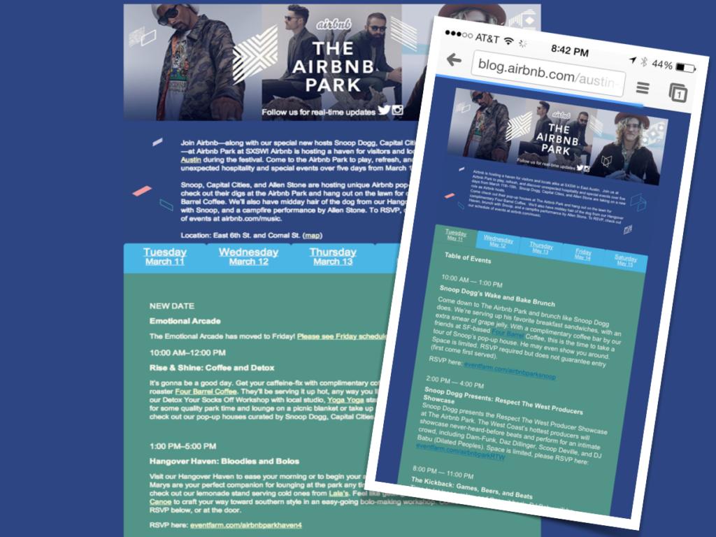 SxSW Airbnb park campaign website mobile miss