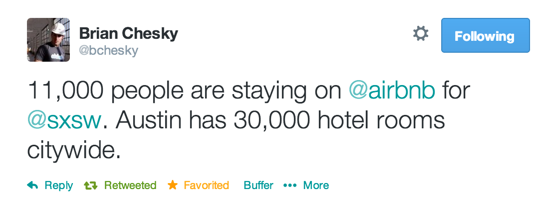 Brian Chesky tweet SxSW Austin Airbnb