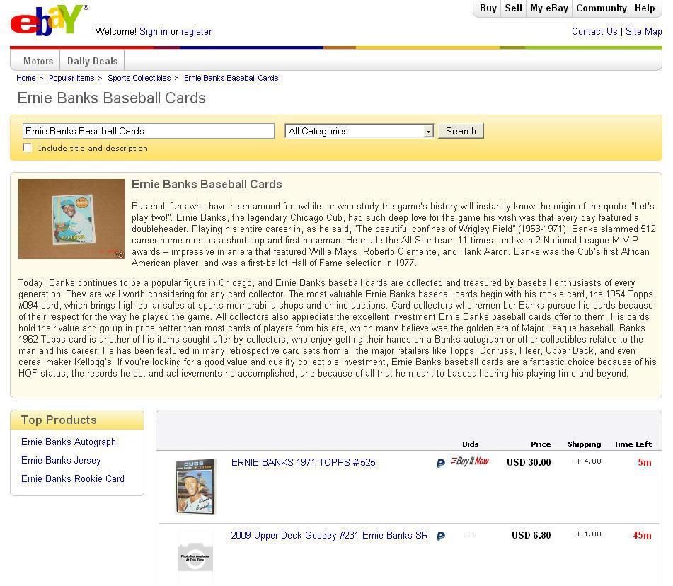 Ernie Banks Baseball Cards popular page