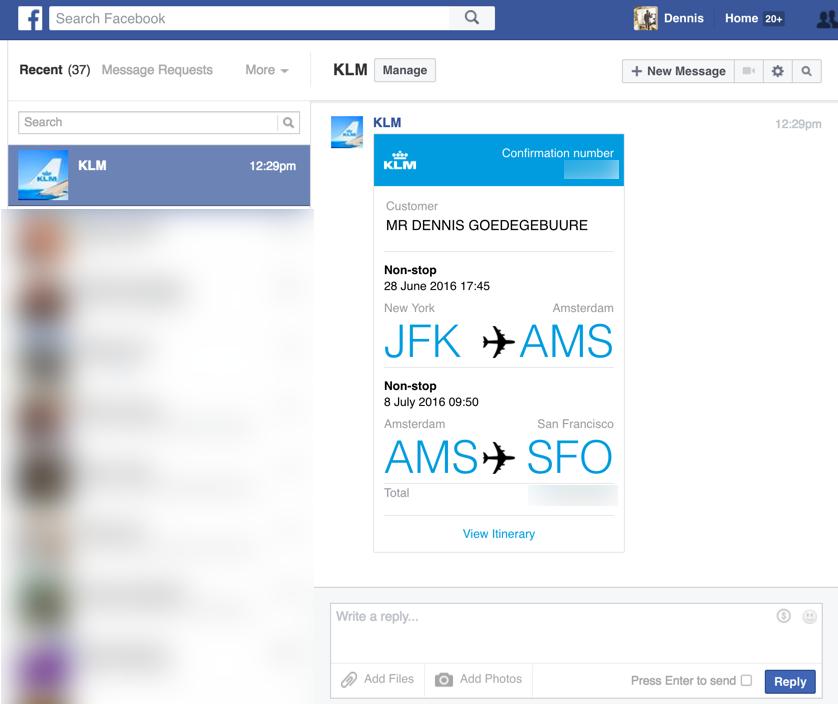 KLM Facebook messenger chatbot