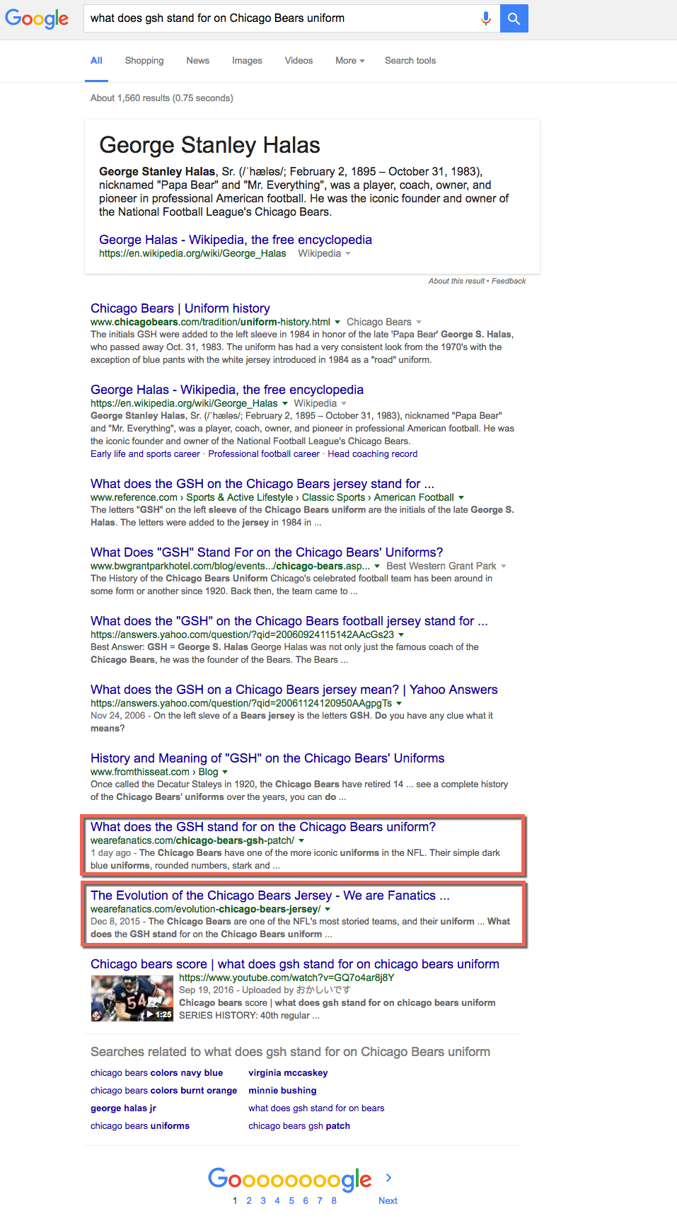 GSH Chicago Bears Google SERP